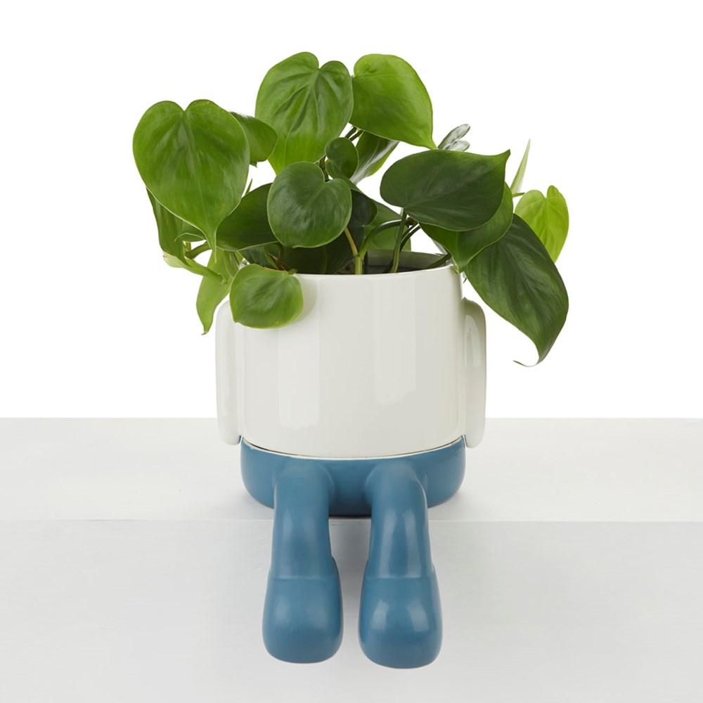 Bloempot,Mr.Dangly,blauw,keramiek