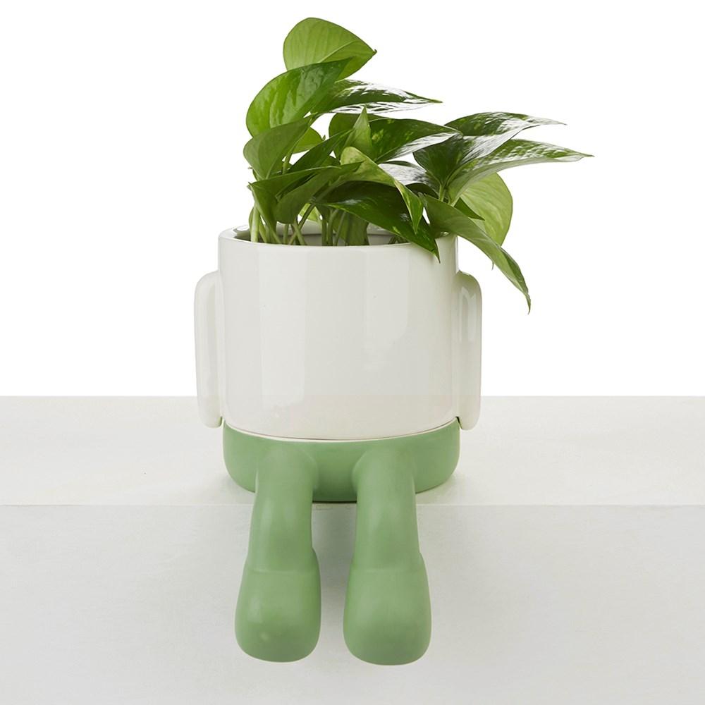 Bloempot,Mr.Dangly,groen,keramiek