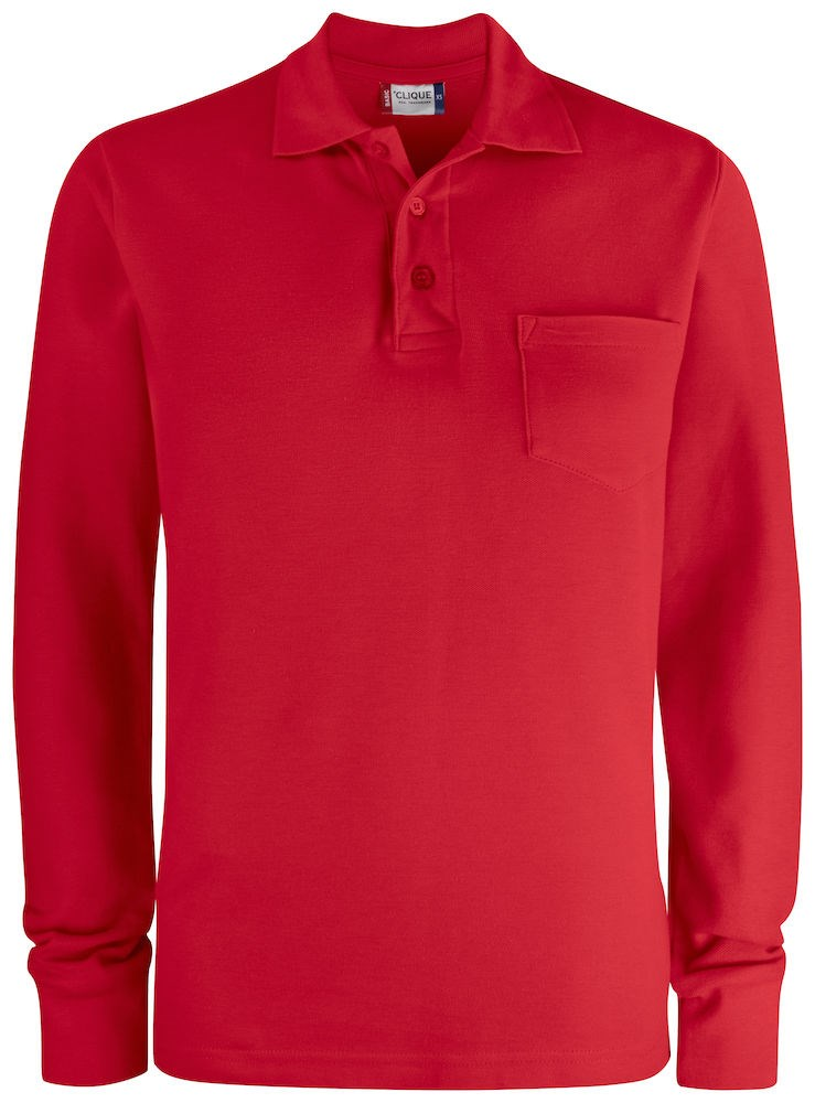 Clique Basic Polo LS Pocket rood xl