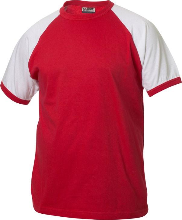 Clique Raglan-T rood/wit xl