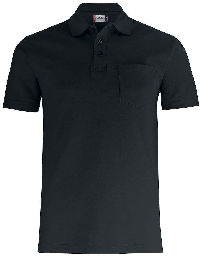 Clique Basic Polo Pocket zwart xxl