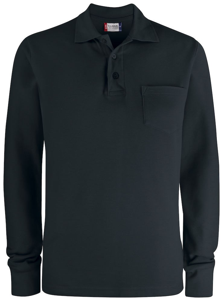 Clique Basic Polo LS Pocket zwart m