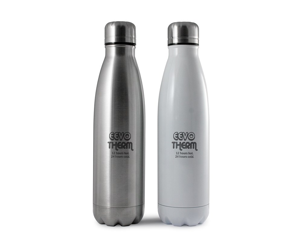 Eevo-Therm Etched Bottle Zilver