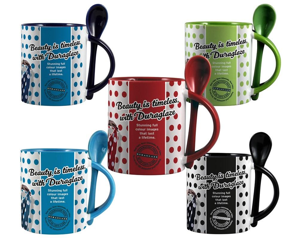 Duraglaze 11oz Soup & Spoon Two Tone PhotoMug Lichtblauw (PMS 7690c)