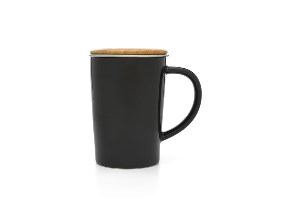 Theemok 400ml, met RVS filter en bamboedeksel, zwart