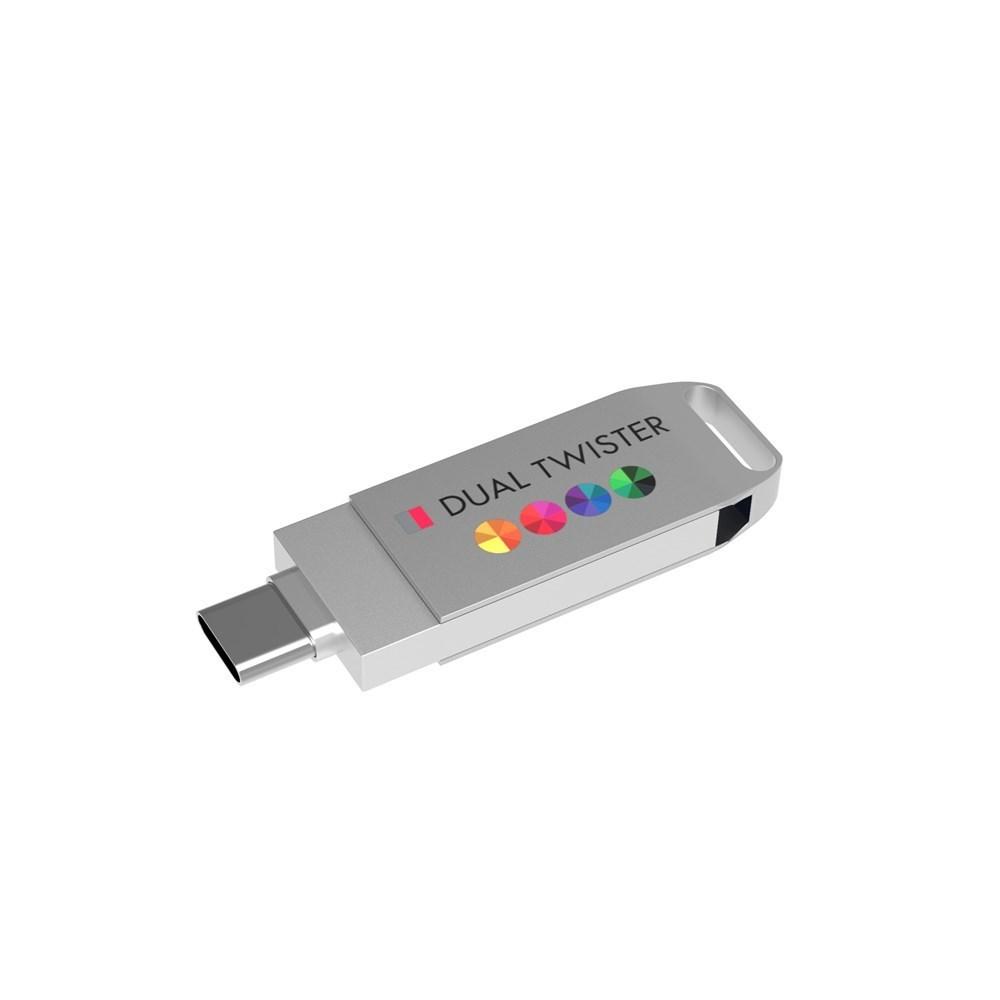 USB Stick Dual Twister 3.0 128 GB Premium Zilver met bedrukking in full color