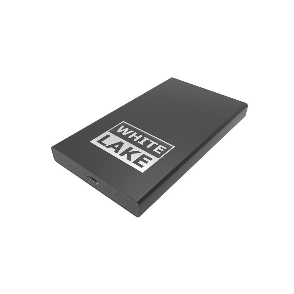 White Lake Pro External HDD 2 TB, Engraving Zwart met lasergravure