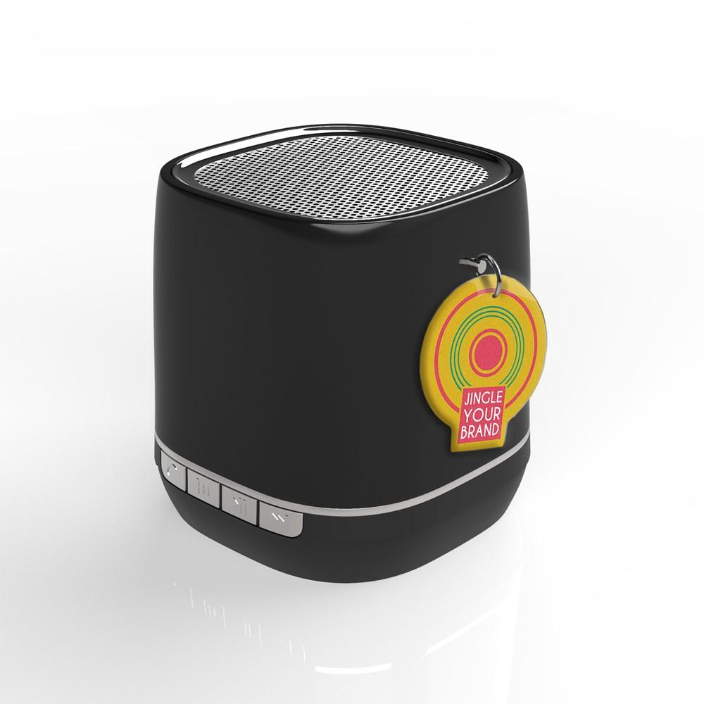 Retro Speaker Label Zwart met label met bedrukking in full color