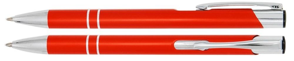 Aluminium balpen 2 chroom ringen oranje