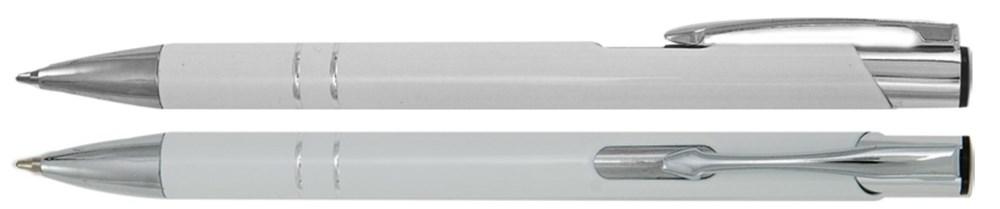 Aluminium balpen 2 chroom ringen wit