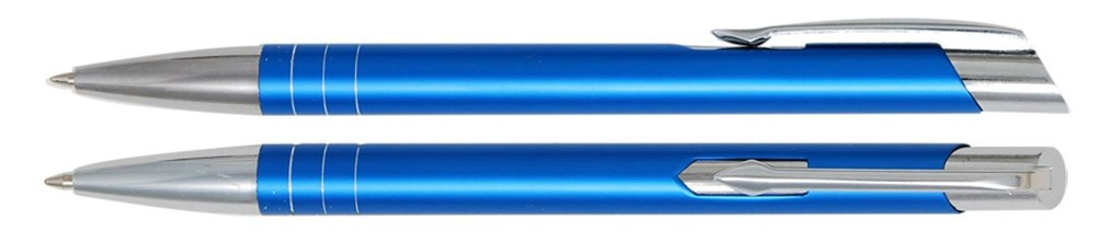 Aluminium balpen smalle ringen licht blauw