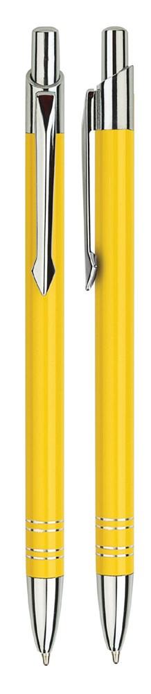 Aluminium balpen slank geel