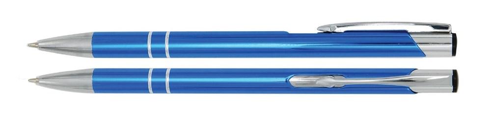 Aluminium balpen slank licht blauw