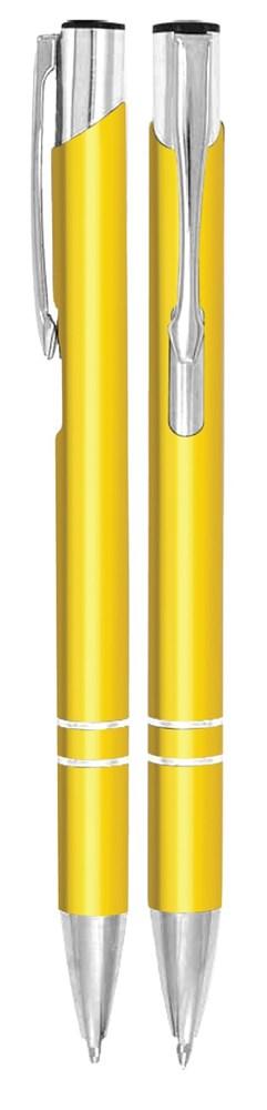 Aluminium balpen 2 chroom ringen geel metallic