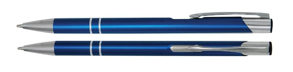 Aluminium balpen slank blauw