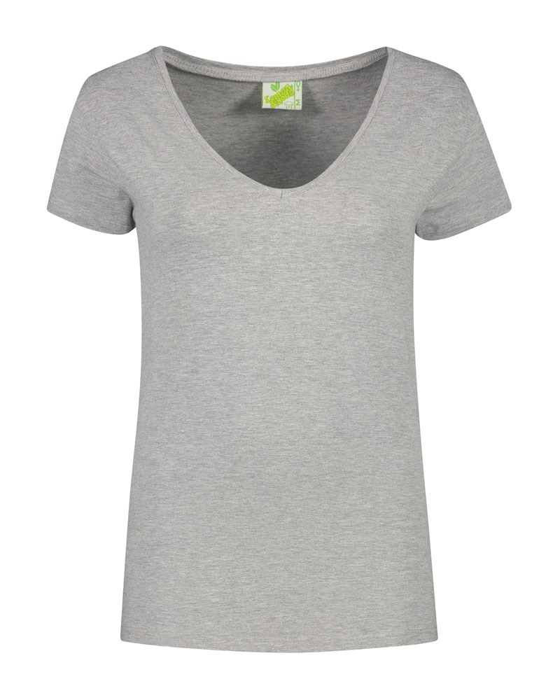 L&S T-shirt V-neck cot/elast SS for her