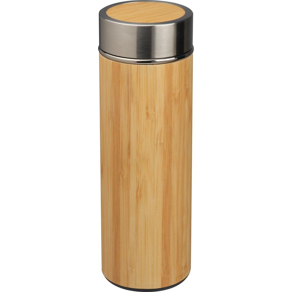 Drinkbeker RVS met bamboelook
