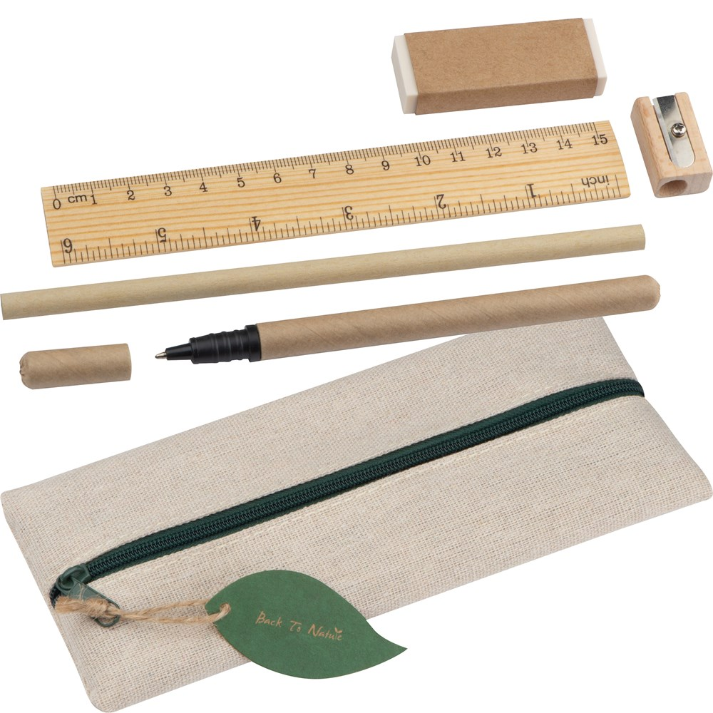 Schrijfset met lineaal, gummetje, puntenslijper, potlood en rollerbal