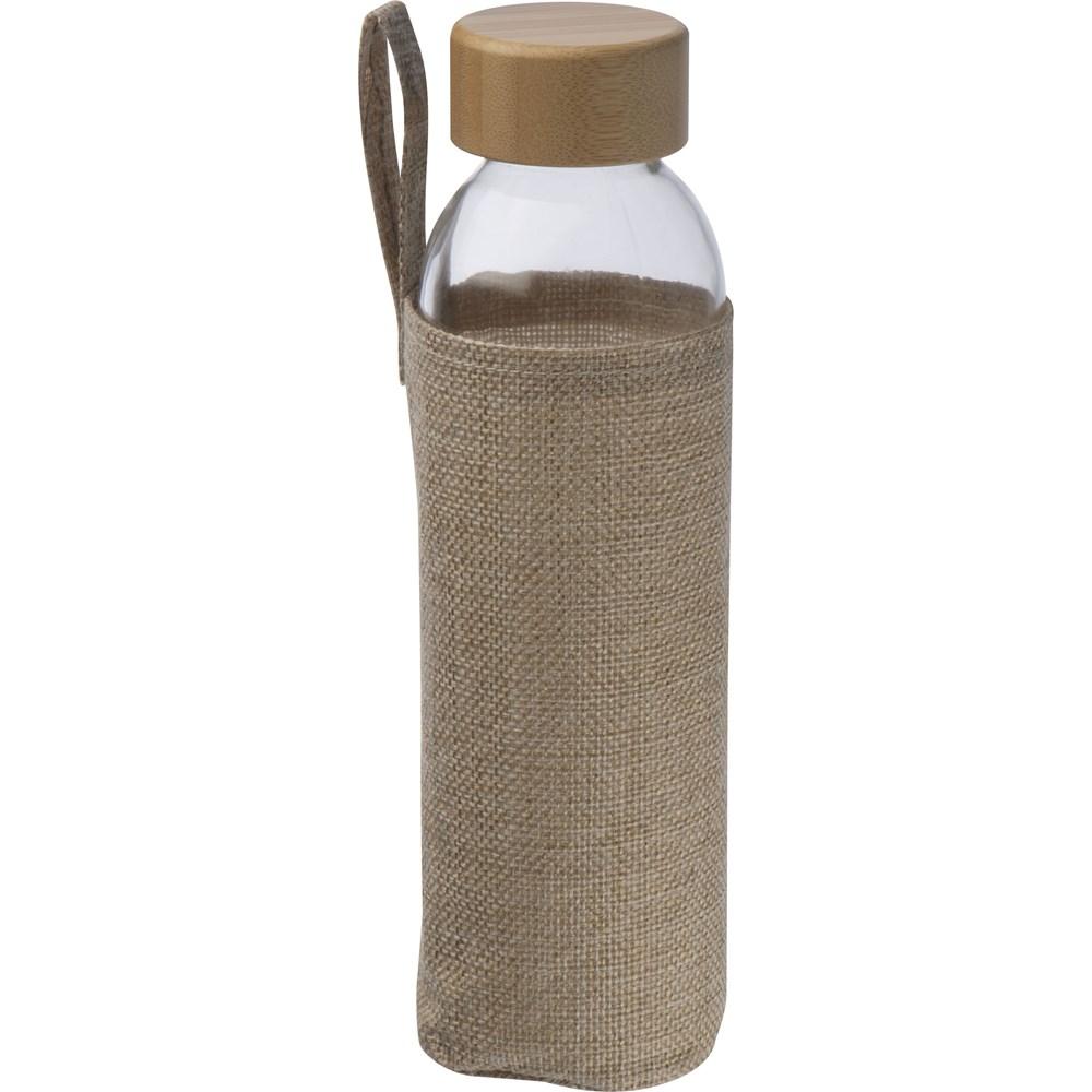 Glazen drinklfes met een jute ommanteling, 500 ml