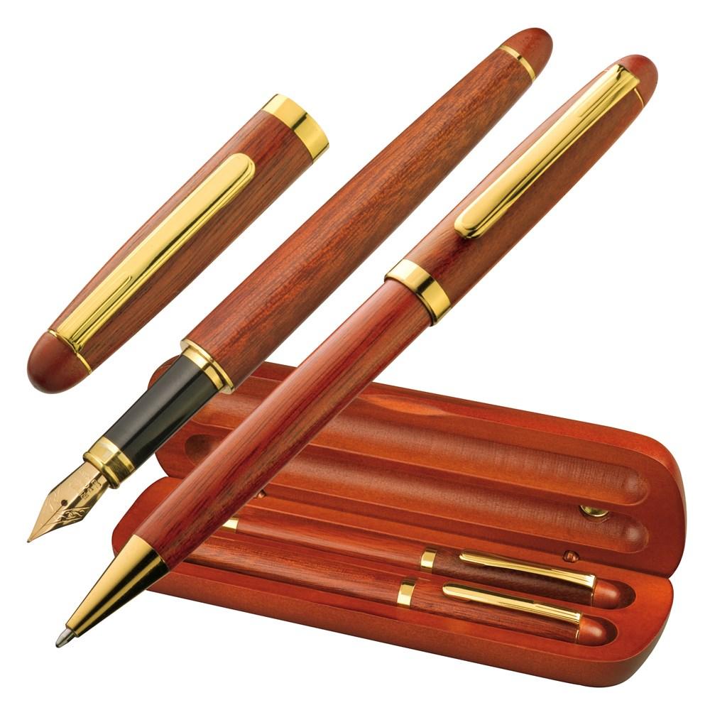 Houten pennenset.