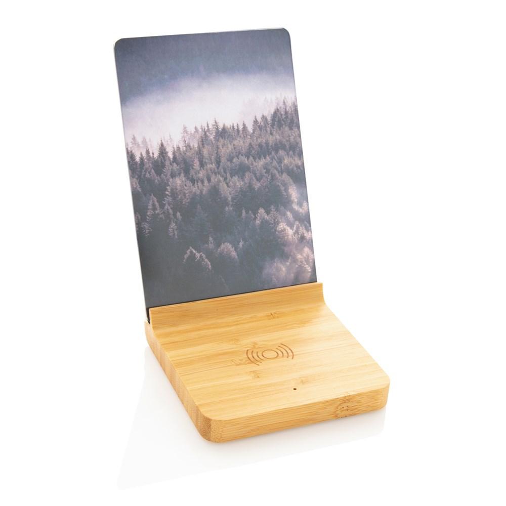 Bambus 5W Wireless Charger mit Fotorahmen