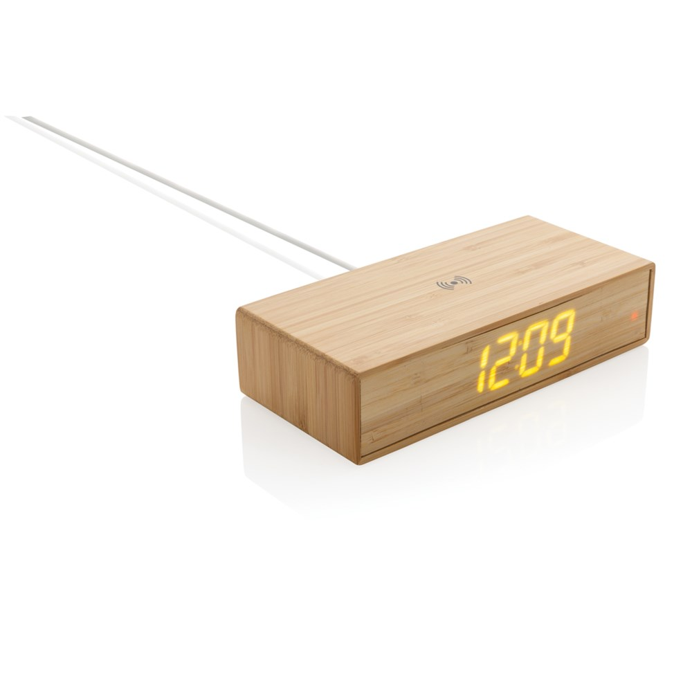 Wecker mit 5W Wireless Charger aus Bambus