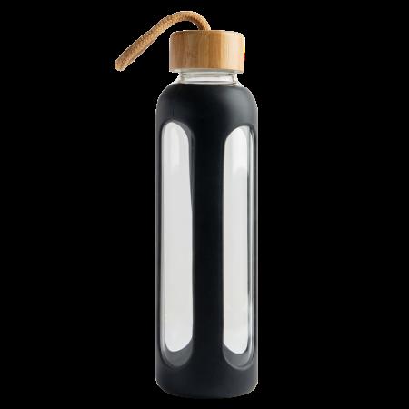 Glazen fles 600 ml bamboe dop