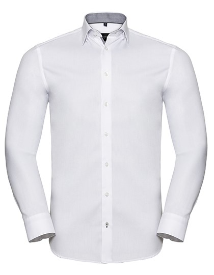 Russell Collection - Men`s Long Sleeve Tailored Contrast Herringbone Shirt
