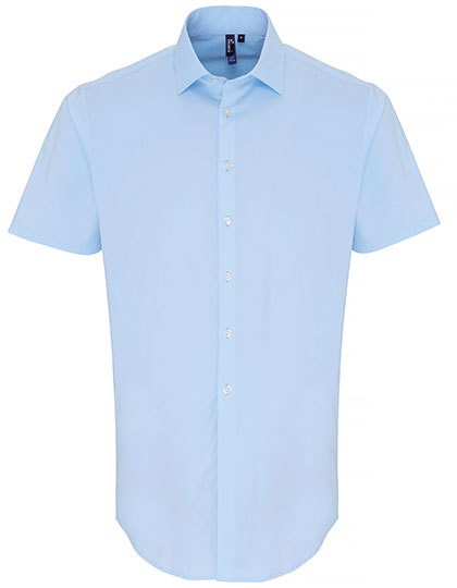 Premier Workwear - Mens Stretch Fit Poplin Short Sleeve Cotton Shirt