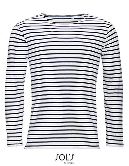SOL´S - Men`s Long Sleeve Striped T-Shirt Marine