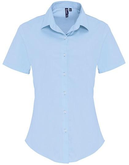 Premier Workwear - Ladies Stretch Fit Poplin Short Sleeve Cotton Shirt