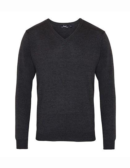Premier Workwear - Men`s V-Neck Knitted Sweater