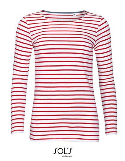 SOL´S - Women`s Long Sleeve Striped T-Shirt Marine