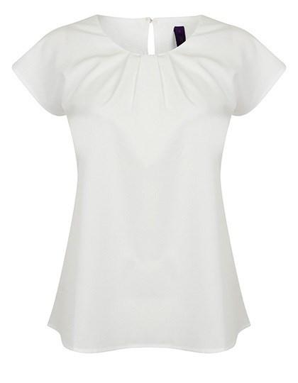 Henbury - Ladies` Pleat Front Short Sleeve Blouse