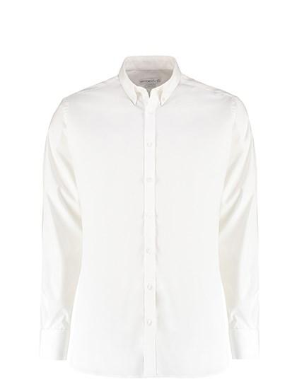 Kustom Kit - Slim Fit Stretch Oxford Shirt Long Sleeve