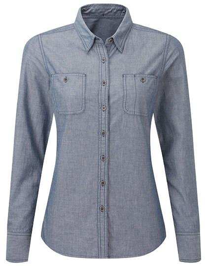 Premier Workwear - Women`s Organic Chambray Fairtrade Long Sleeve Shirt