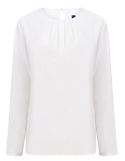Henbury - Ladies Pleat Front Long Sleeved Blouse