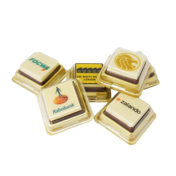 Bedrukte chocolade in blister