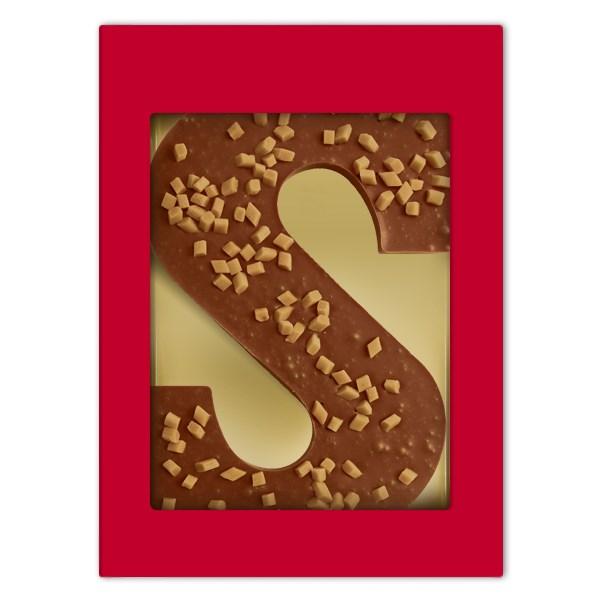 Luxe melkchocoladeletter S met Caramel-Seasalt