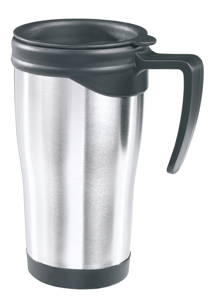 Mug with lid, stainless steel