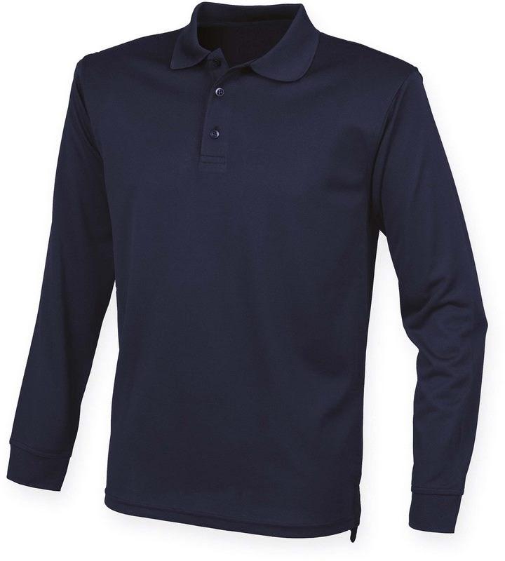 Henbury Unisex Coolplus® Long Sleeved Polo Shirt