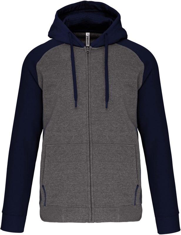 PROACT® Fleece met rits en tweekleurige capuchon unisex