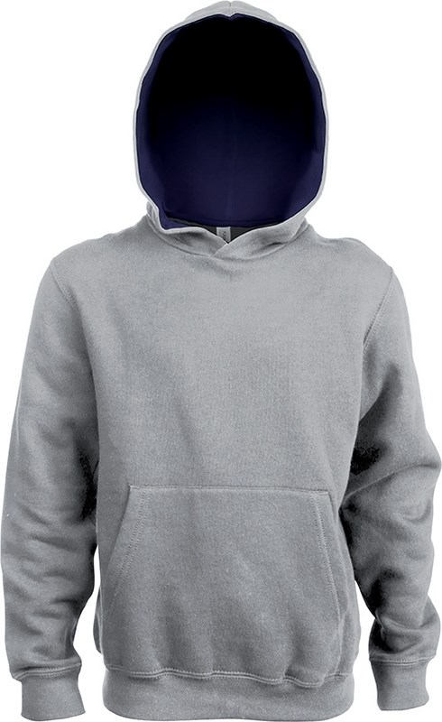 Kariban Kinder hooded sweater met gecontrasteerde capuchon