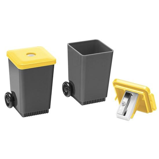 """Bild Bleistiftspitzer """"Mülltonne"""", grau/gelb"""