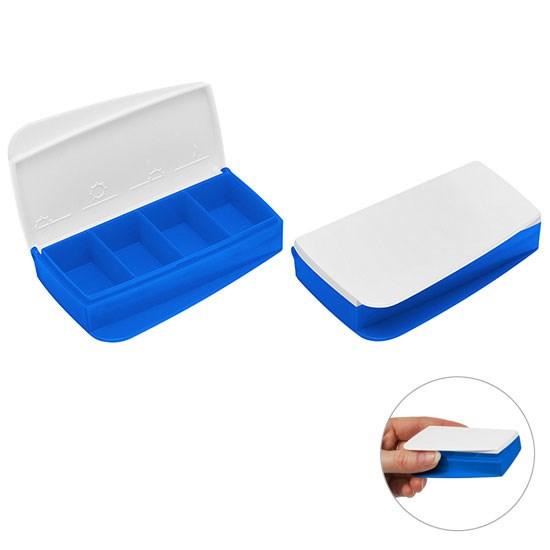 Bild Pillendose, blau/weiß